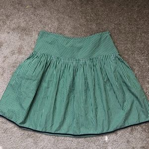 J.Crew Green & White Striped Circle Skirt